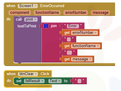 The Screen.ErrorOccurred block catches errors and displays them in the ...