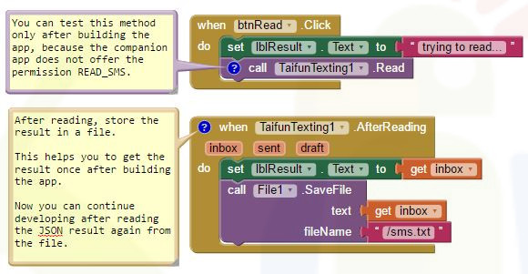 App Inventor Extensions: Texting | Pura Vida Apps