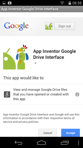 App Inventor Tutorials and Examples: Google Drive Interface | Pura