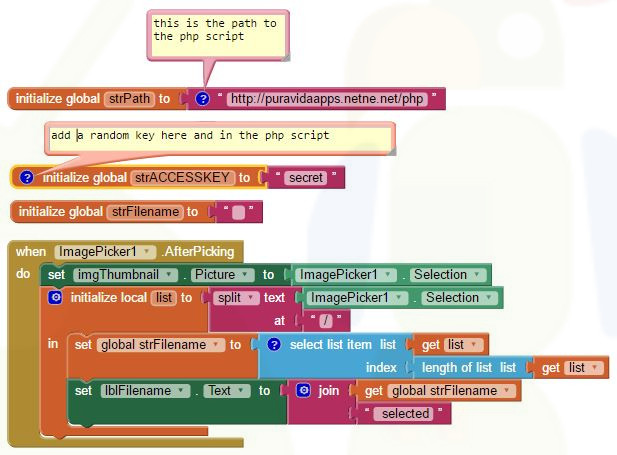 App Inventor Tutorials and Examples: PostFile | Pura Vida Apps