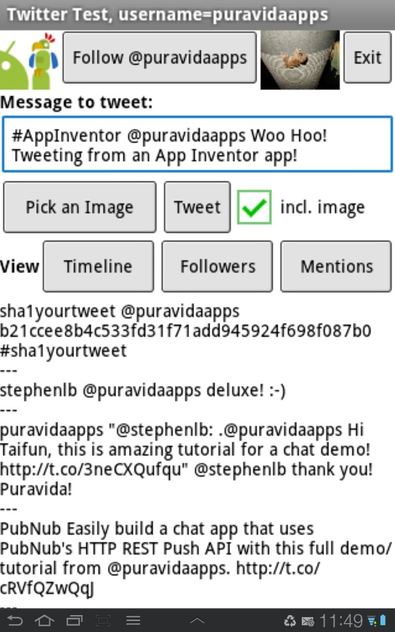 App Inventor Tutorials and Examples: Twitter Component